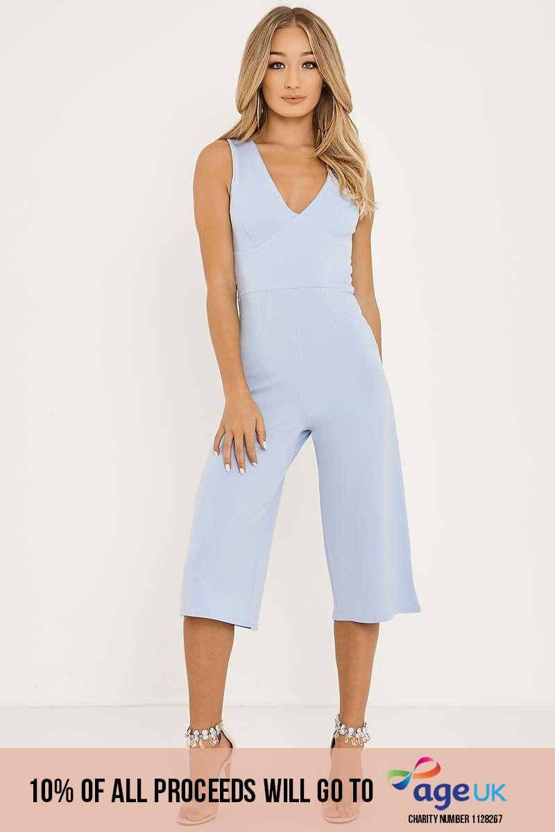 blue plunge front culotte jumpsuit