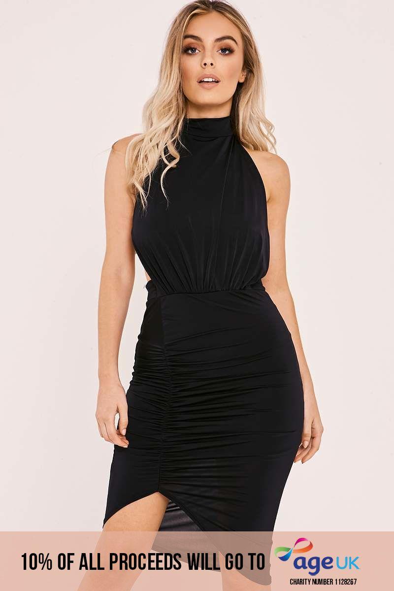 black slinky halterneck backless ruched dress