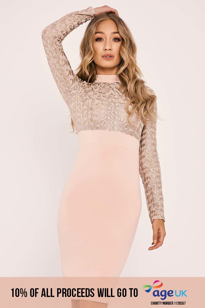 BRYCE NUDE SWIRL MESH LONG SLEEVE DRESS