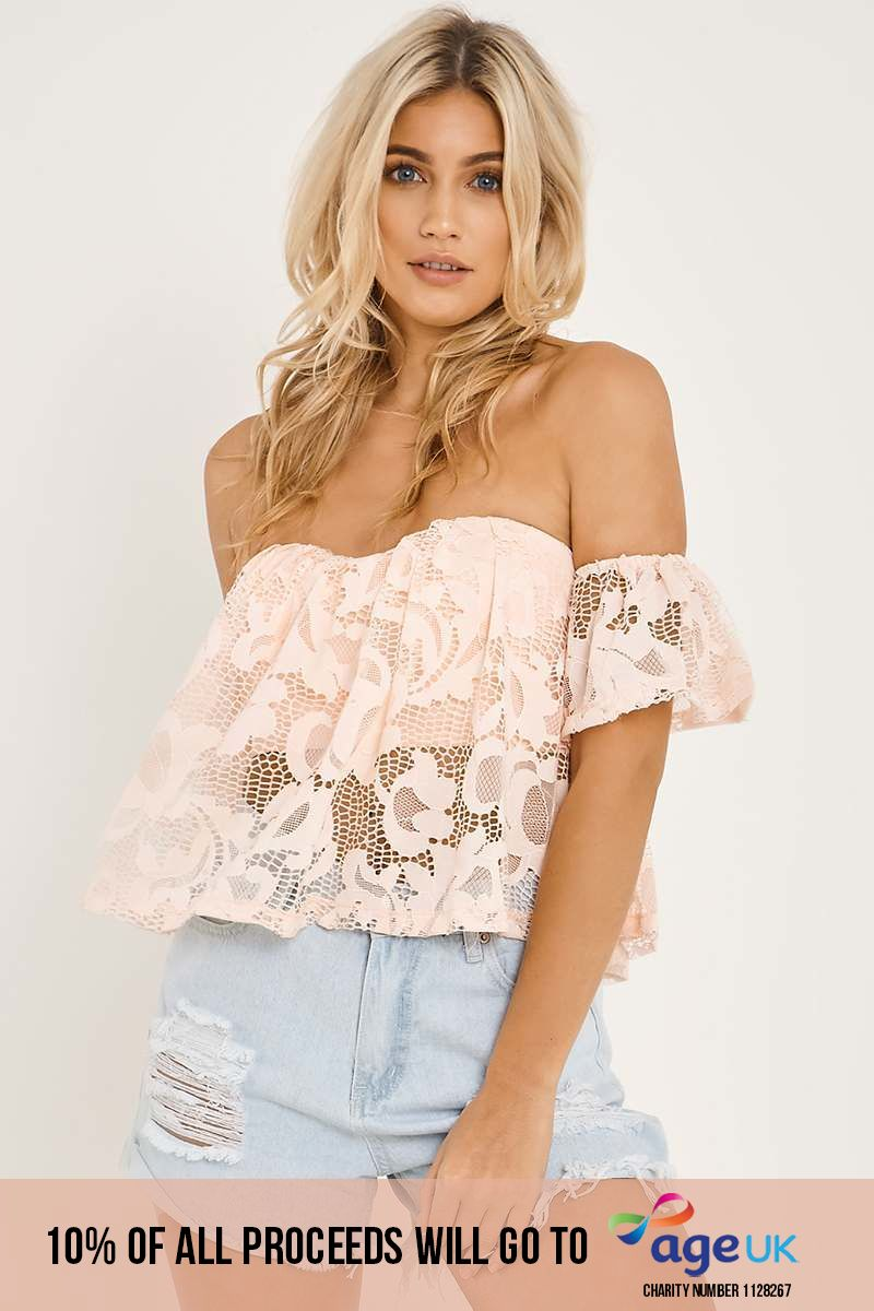 HANELLE PINK LACE OVERLAY BARDOT TOP