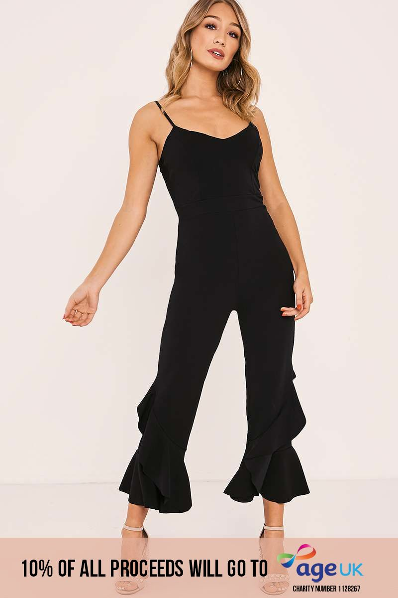 black frill leg strappy jumpsuit
