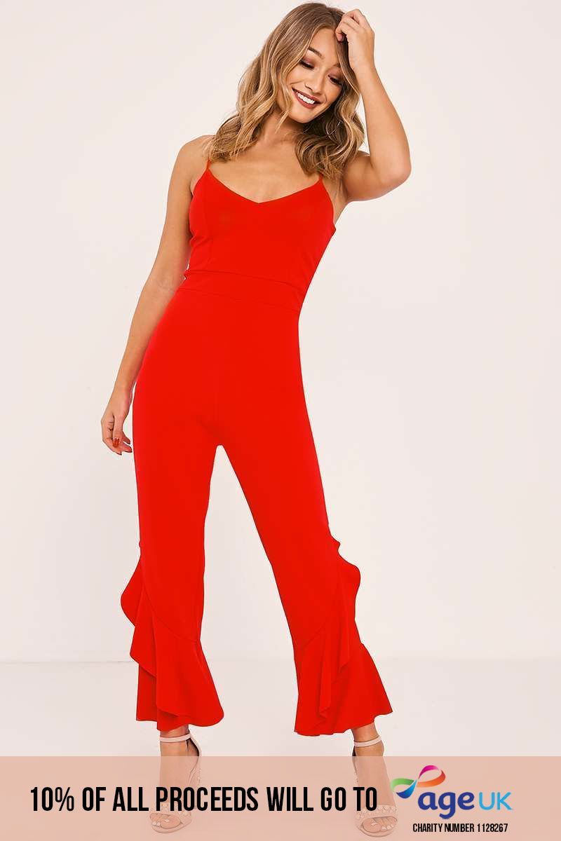 red frill leg strappy jumpsuit