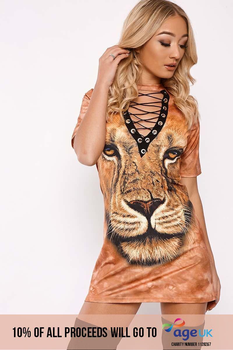 LION RUST LACE UP CHOKER T SHIRT DRESS