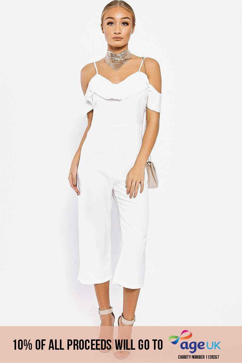 white strappy frill cropped jumpsuit