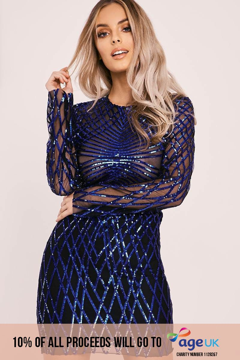 blue long sleeve sequin mini dress