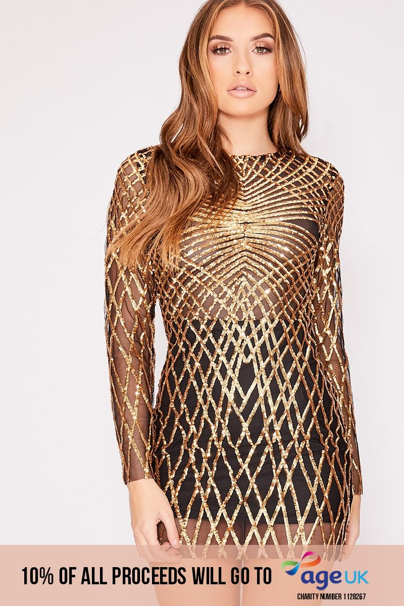 gold long sleeve sequin mini dress