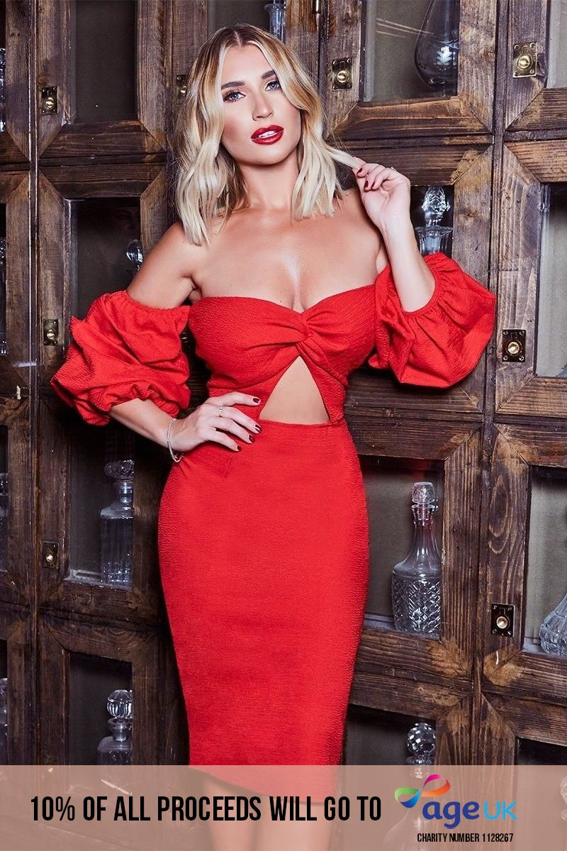 BILLIE FAIERS RED BARDOT TWIST FRONT PUFF SLEEVE MIDI DRESS