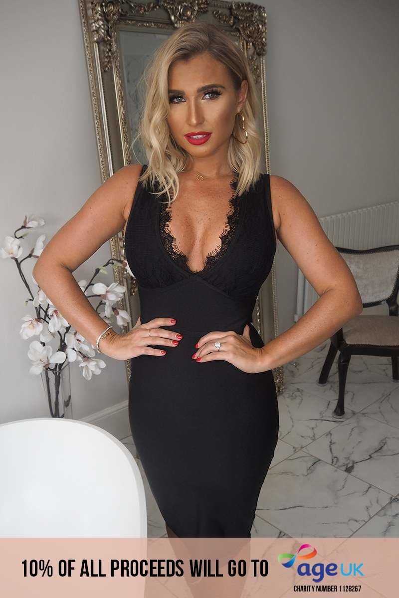 BILLIE FAIERS BLACK LACE BANDAGE MIDI DRESS