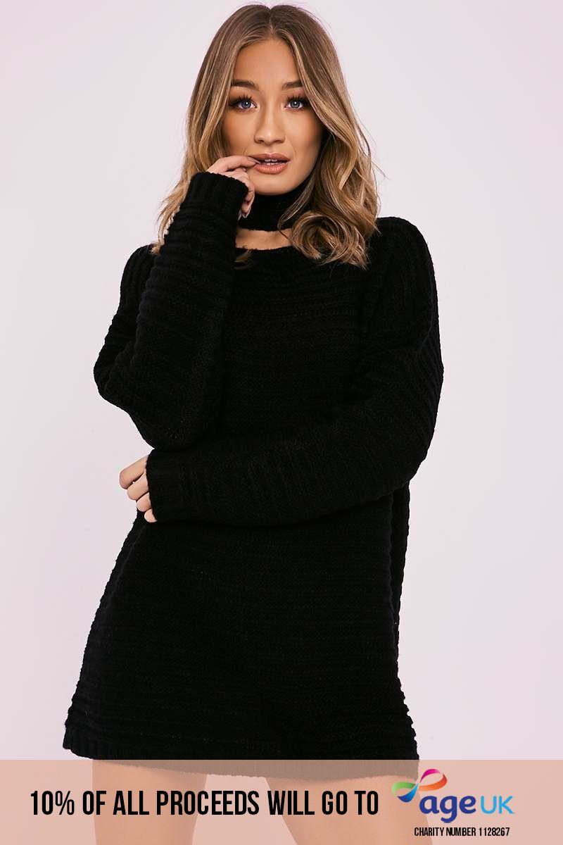 BILLIE FAIERS BLACK OVERSIZED CHOKER KNIT JUMPER DRESS