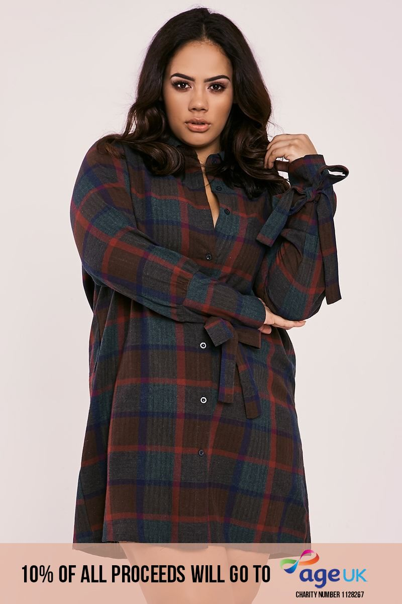 CURVE BINKY GREEN CHECK TIE CUFF SHIRT DRESS