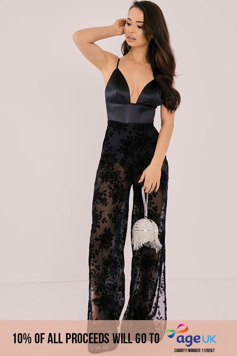 BINKY BLACK FLORAL BURN OUT PALAZZO TROUSERS
