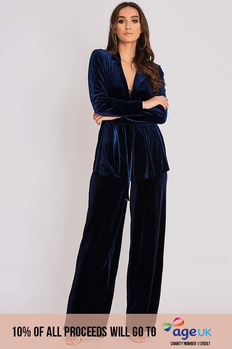 BINKY NAVY VELVET WIDE LEG TROUSERS