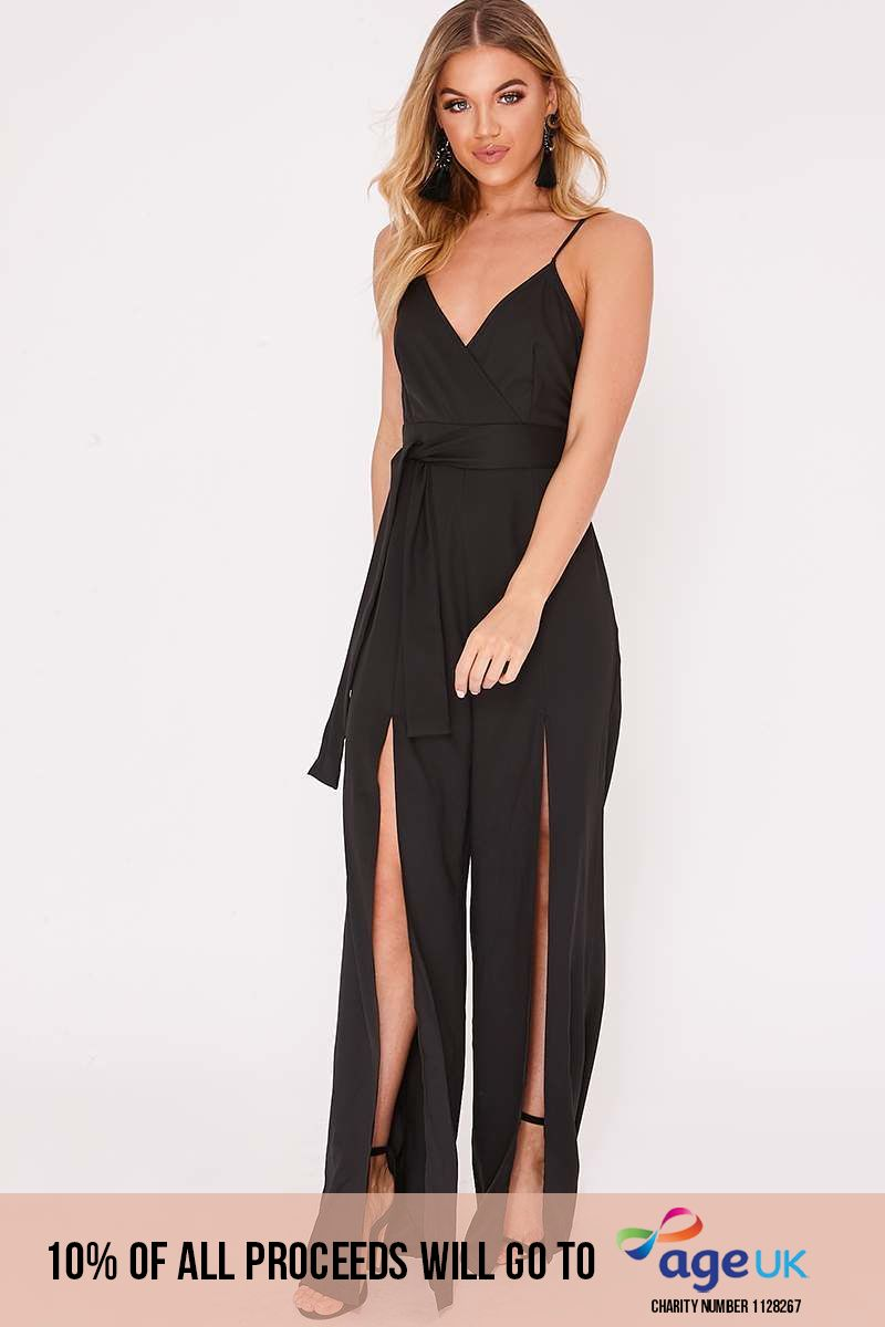 black wrap front split leg jumpsuit