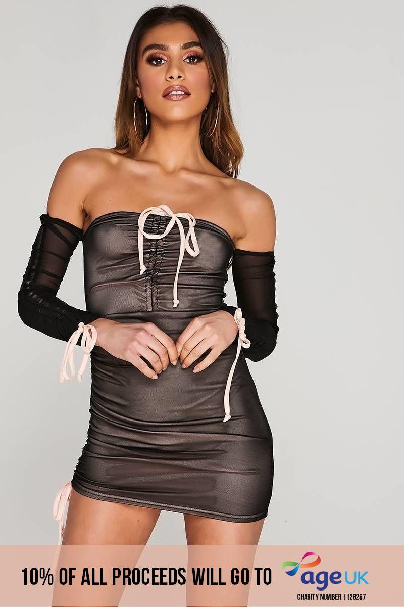 CHARLOTTE CROSBY BLACK RUCHED MESH BARDOT MINI DRESS