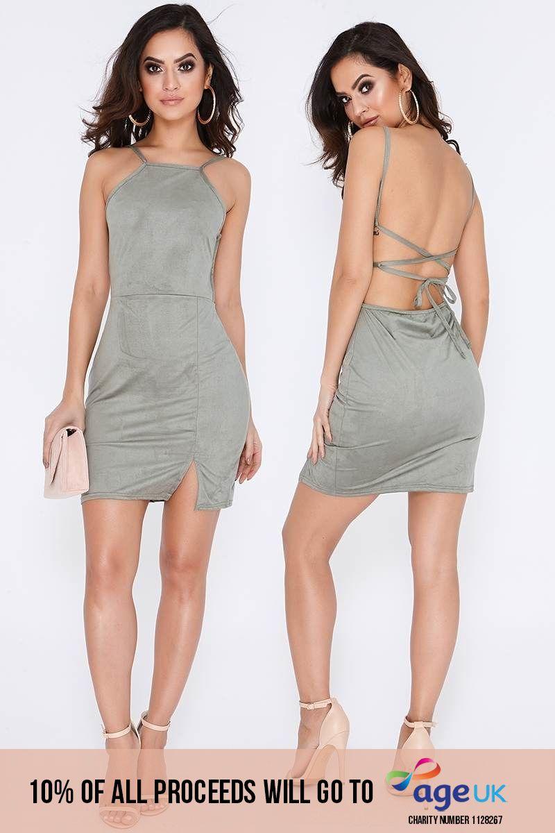 khaki faux suede thigh split bodycon dress