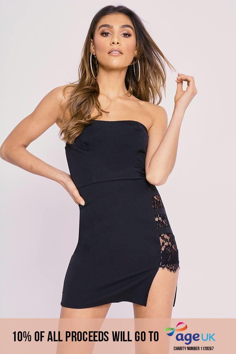CHARLOTTE CROSBY BLACK LACE SPLIT BANDEAU MINI DRESS