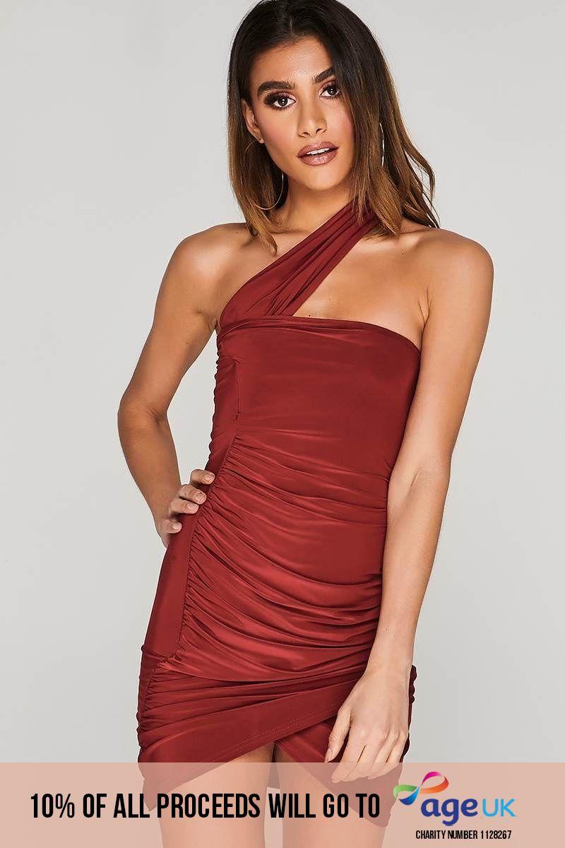 CHARLOTTE CROSBY WINE ASYMMETRIC RUCHED SLINKY WRAP DRESS