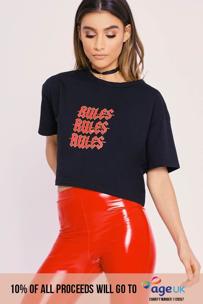 CHARLOTTE CROSBY BLACK NO RULES OVERSIZED CROPPED T SHIRT