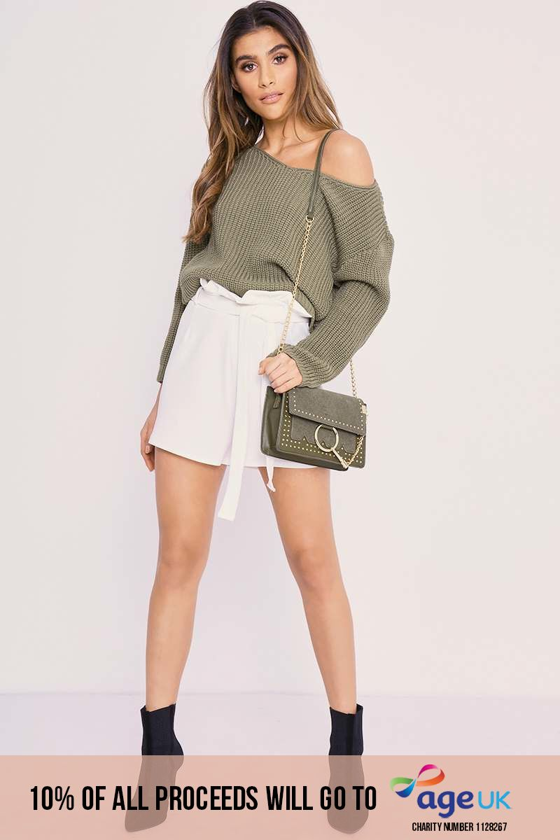 CHARLOTTE CROSBY WHITE HIGH WAISTED PAPERBAG SHORTS