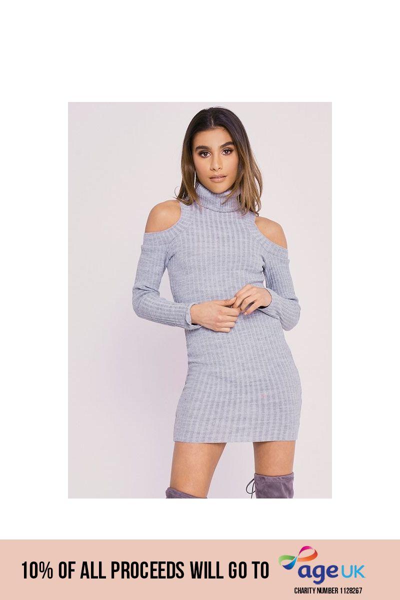 CHARLOTTE CROSBY GREY COLD SHOULDER ROLL NECK JUMPER DRESS