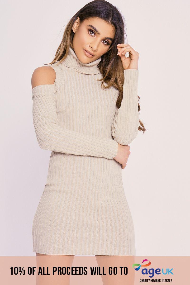 CHARLOTTE CROSBY STONE COLD SHOULDER ROLL NECK JUMPER DRESS