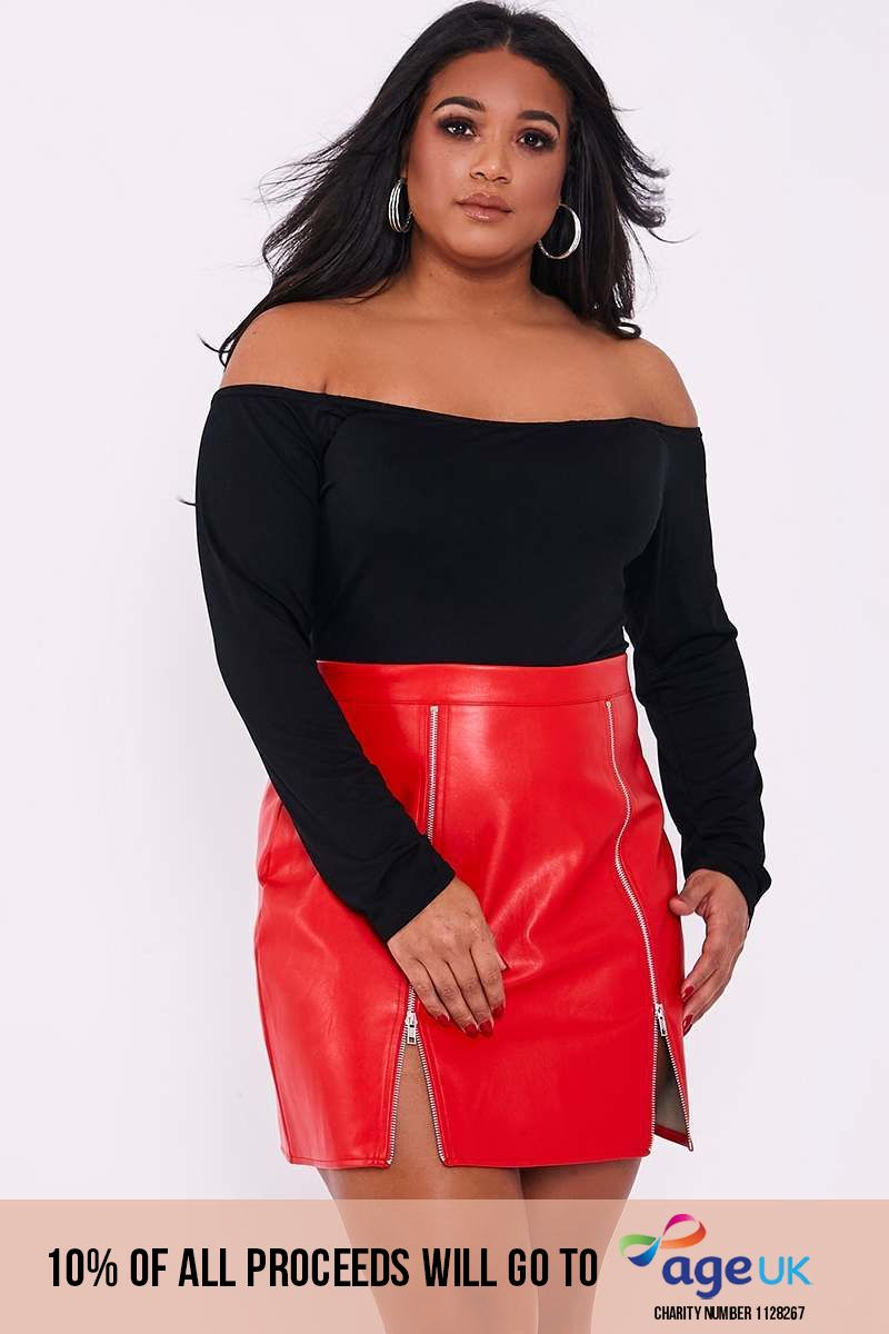 CURVE CHARLOTTE CROSBY RED FAUX LEATHER ZIP FRONT MINI SKIRT