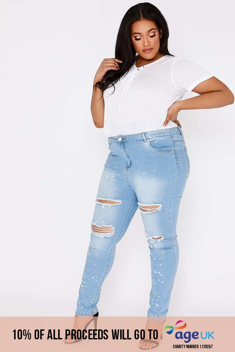 CURVE LUCINE BLUE LIGHT WASH RIPPED SKINNY JEANS