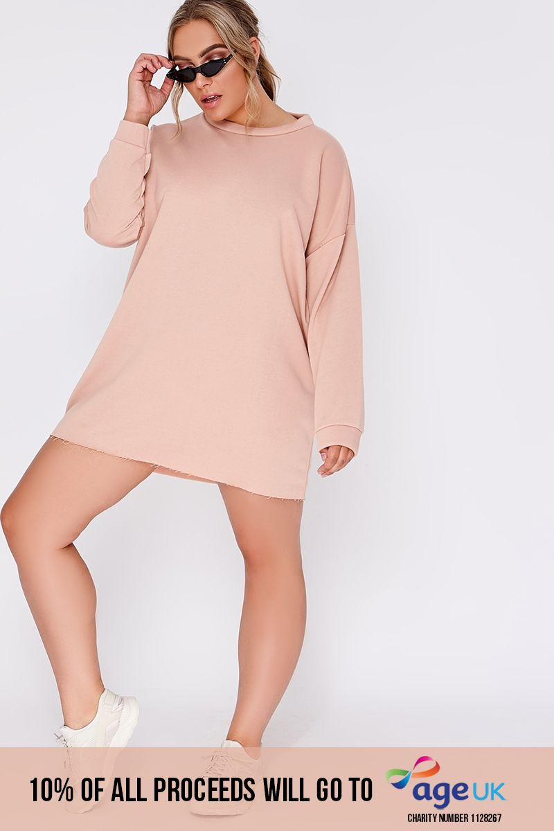CURVE LOUNA NUDE OVERSIZED SWEATER DRESS