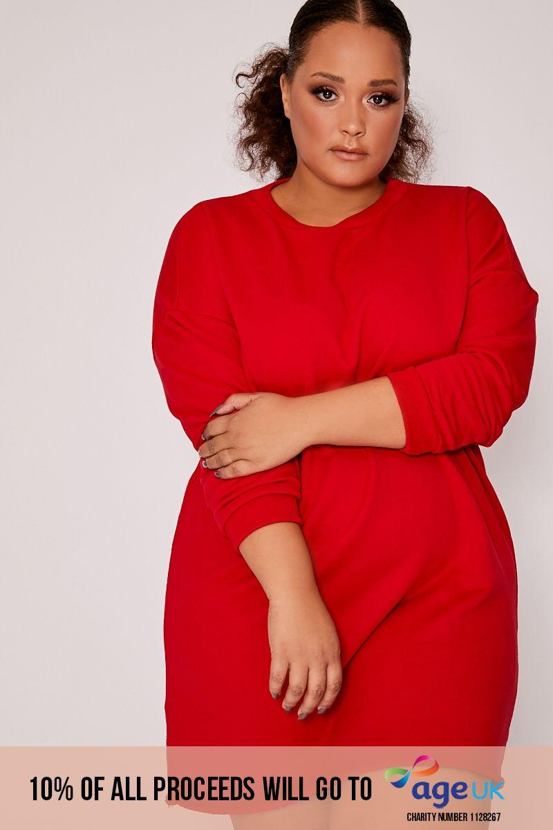CURVE LOUNA RED OVERSIZED SWEATER DRESS