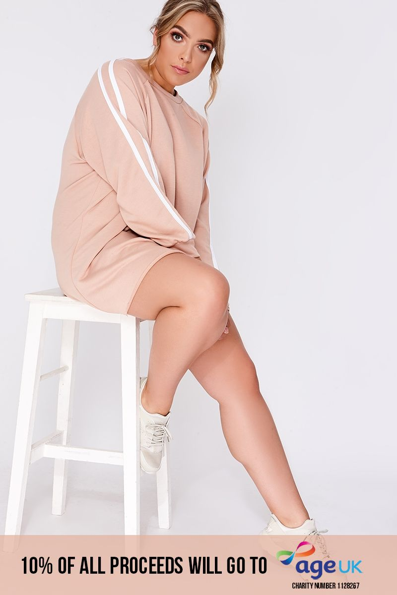 curve blush sports stripe oversized sweater dress
