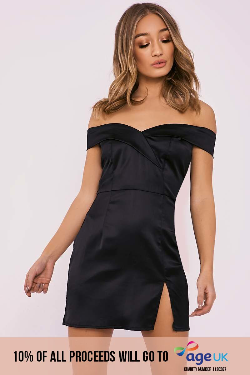 black bardot split leg satin mini dress