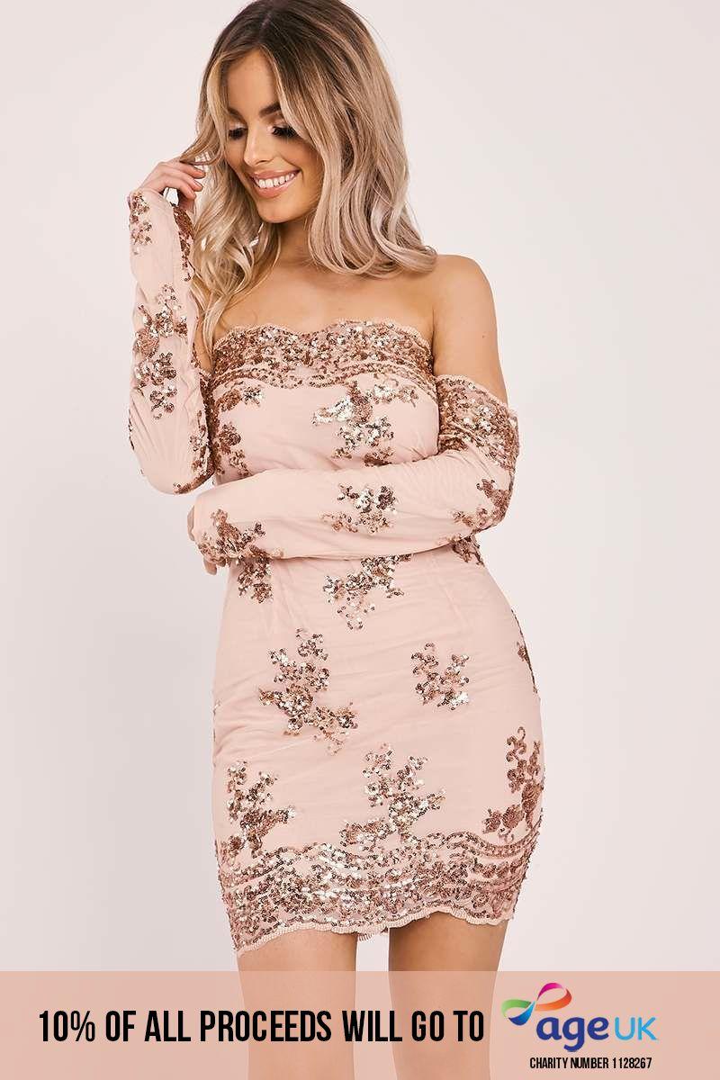 DEBS ROSE GOLD FLORAL SEQUIN BARDOT DRESS
