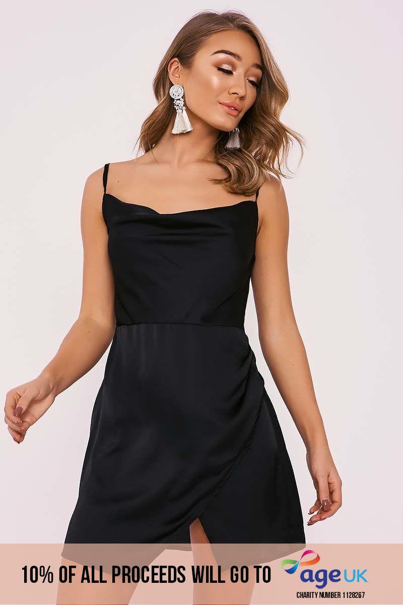 black cowl neck wrap split dress