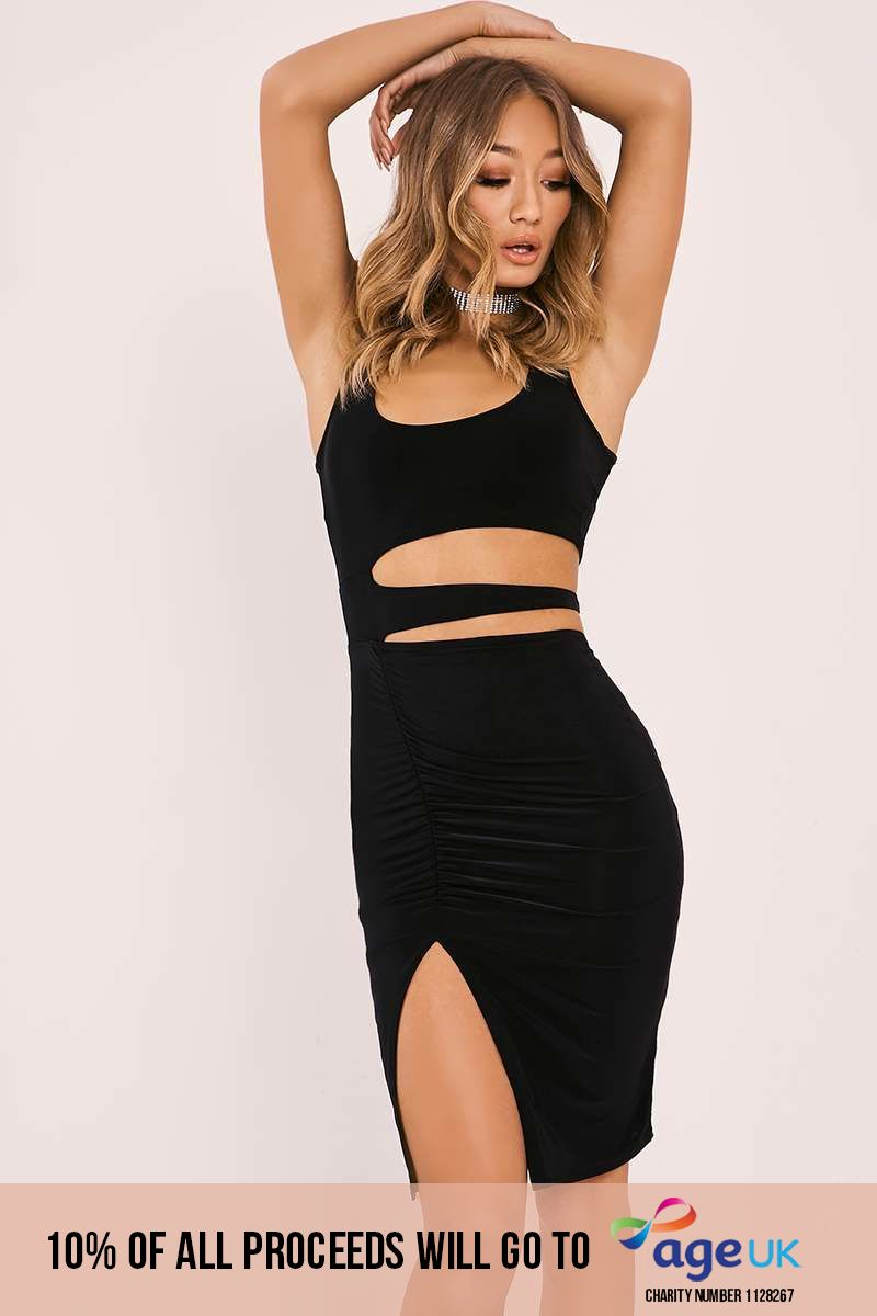 KIM-K BLACK SLASHED CUT OUT DRESS