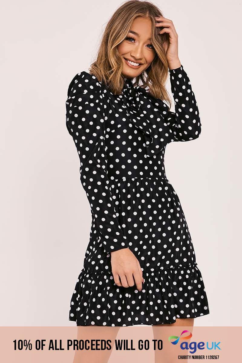 black polka dot pussy bow tie dress