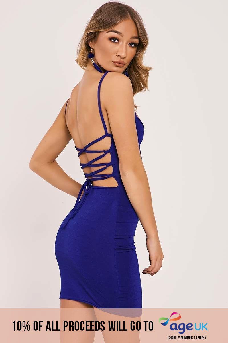 cobalt slinky lace up back bodycon dress