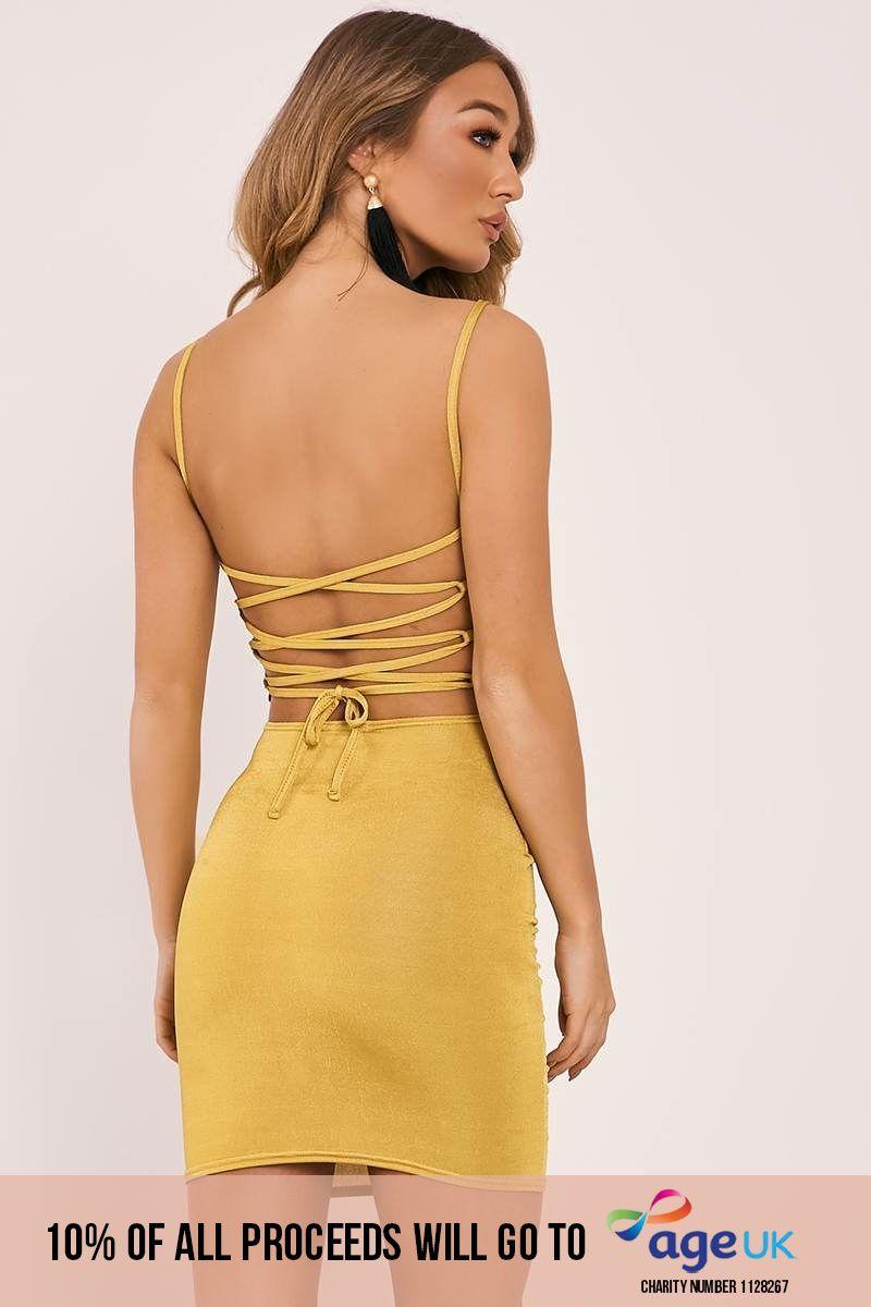 chartreuse slinky lace up back bodycon dress