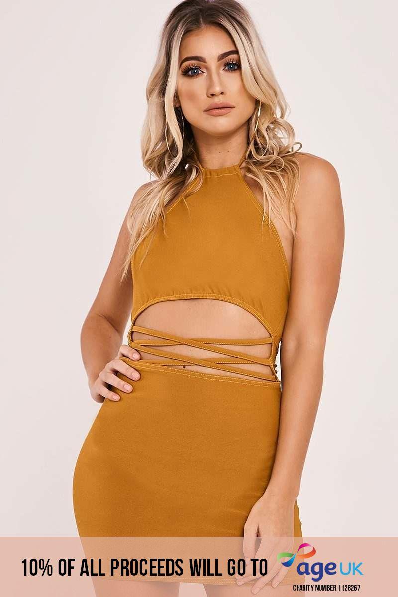 mustard strappy waist halterneck mini dress