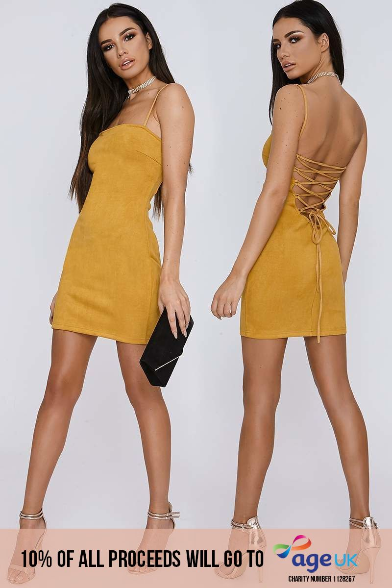 mustard lace up faux suede mini dress
