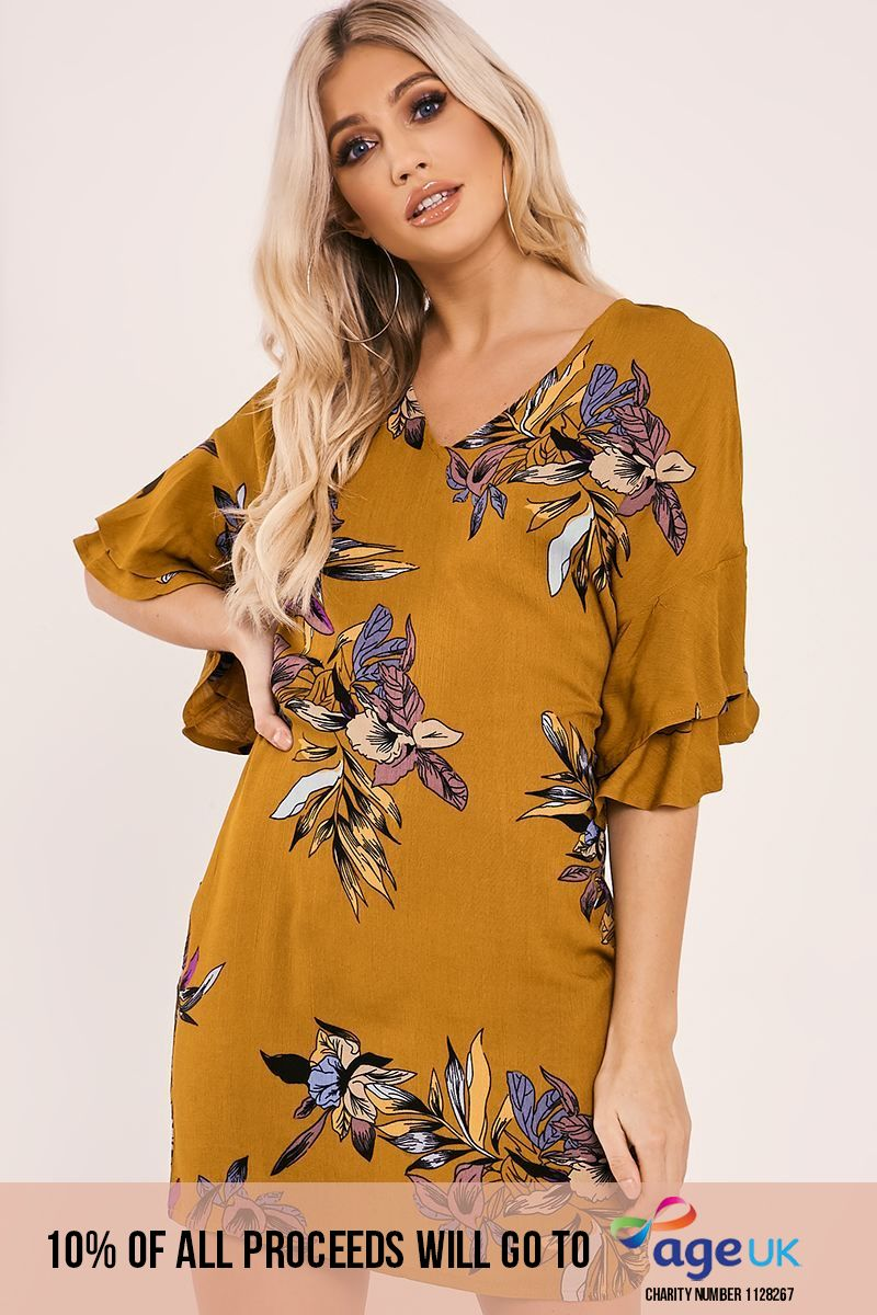 FINLEY MUSTARD FLORAL PRINT FRILL SLEEVE MINI DRESS