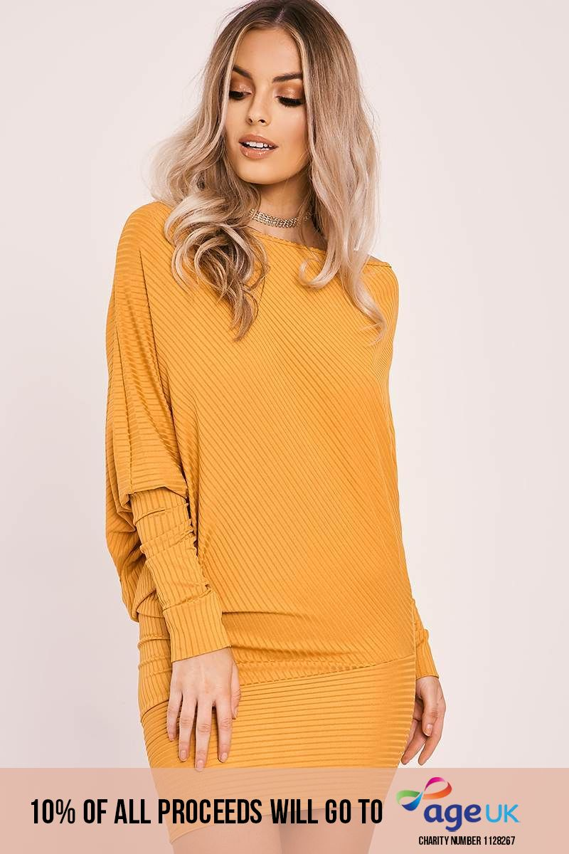 mustard batwing long sleeve asymmetric mini dress