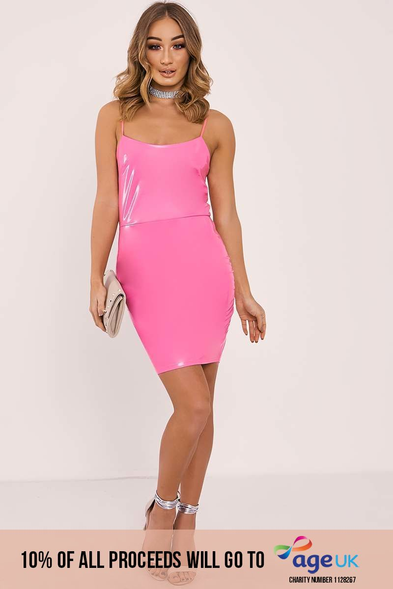 pink vinyl strappy bodycon dress