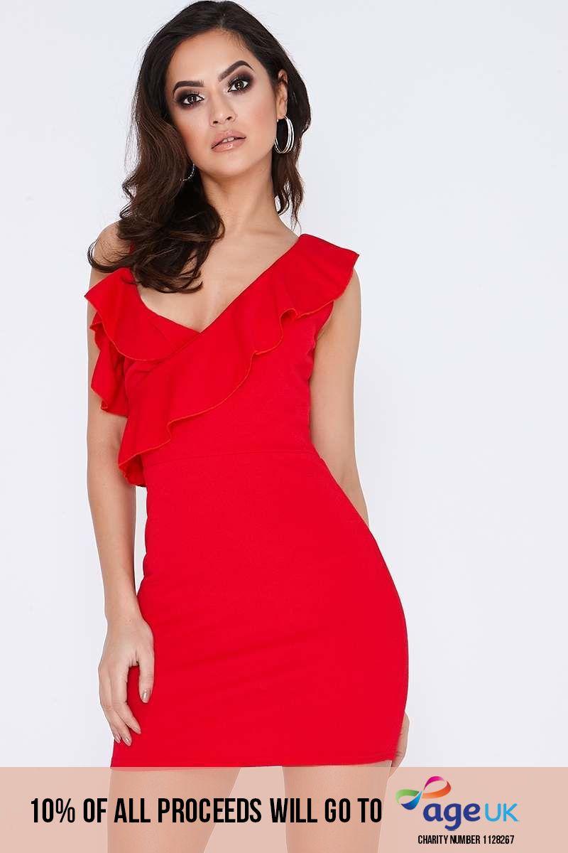 CALIN RED ASYMMETRIC FRILL MINI DRESS