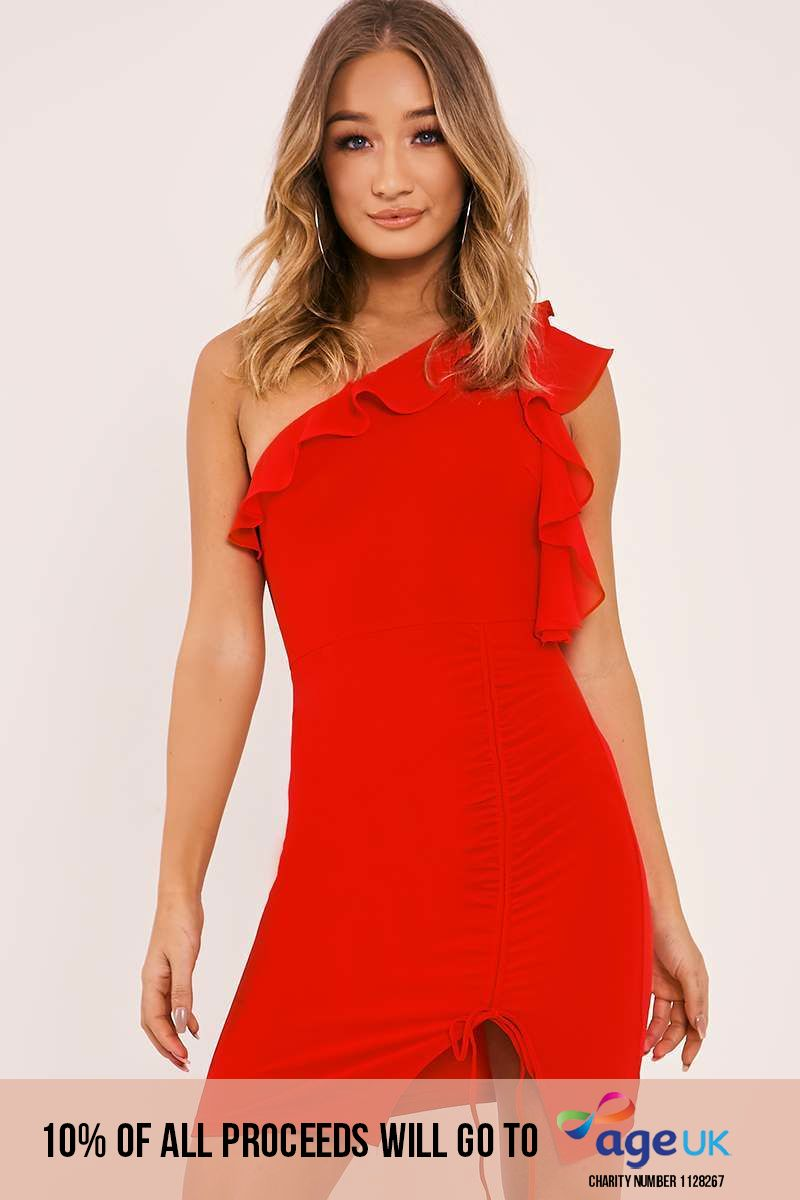red one shoulder frill ruched dress