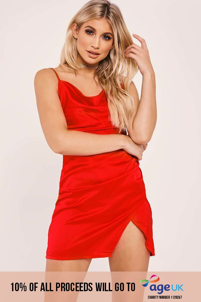 ANAIS RED COWL NECK WRAP SPLIT DRESS