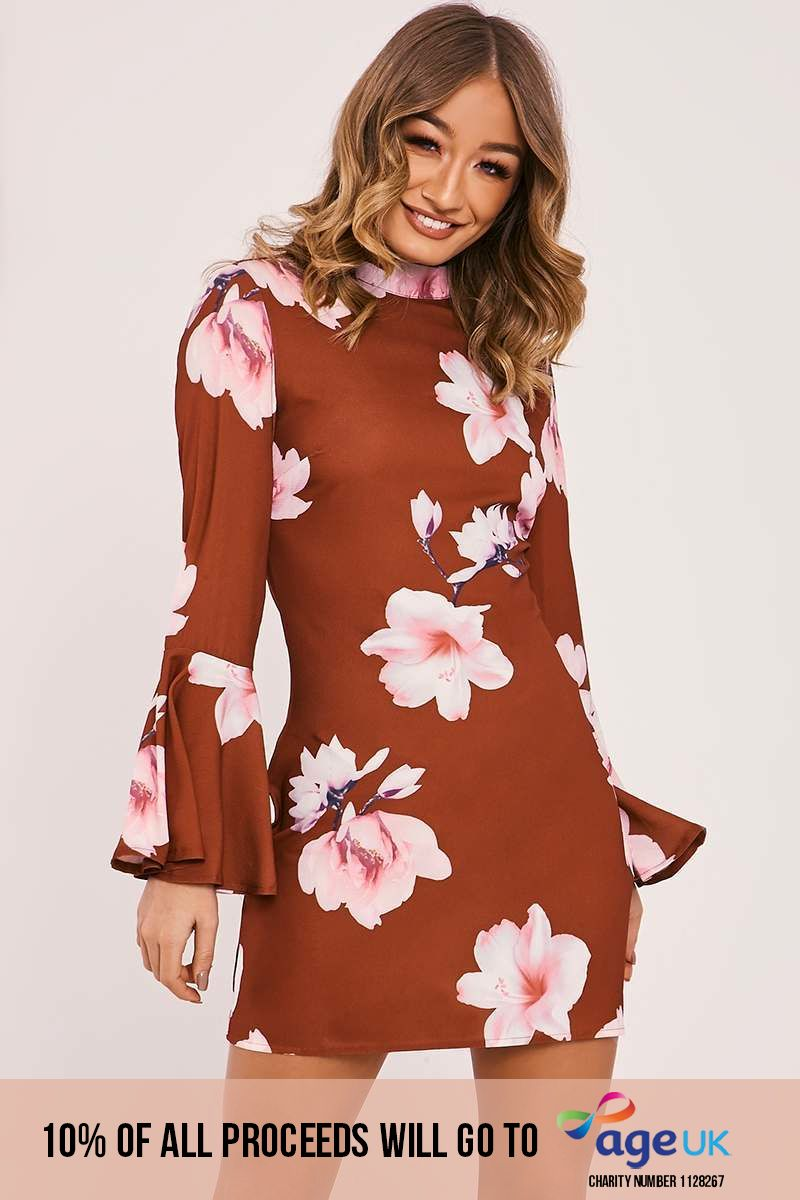 rust floral frill sleeve flared dress
