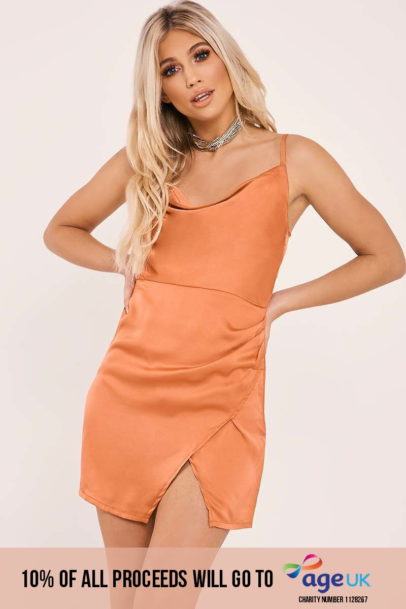 ANAIS RUST COWL NECK WRAP SPLIT DRESS