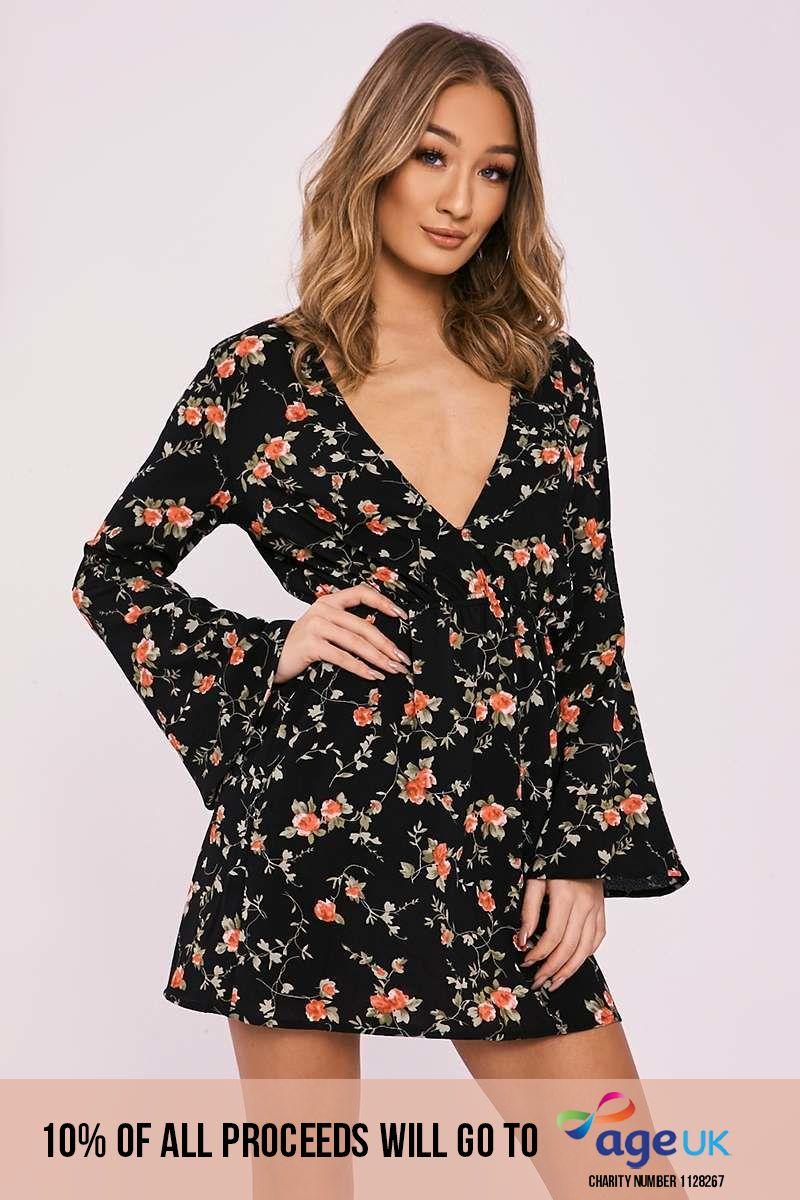 black floral flared sleeve plunge dress