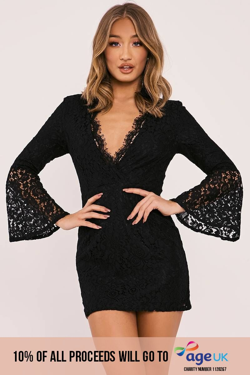 black lace flared sleeve plunge dress