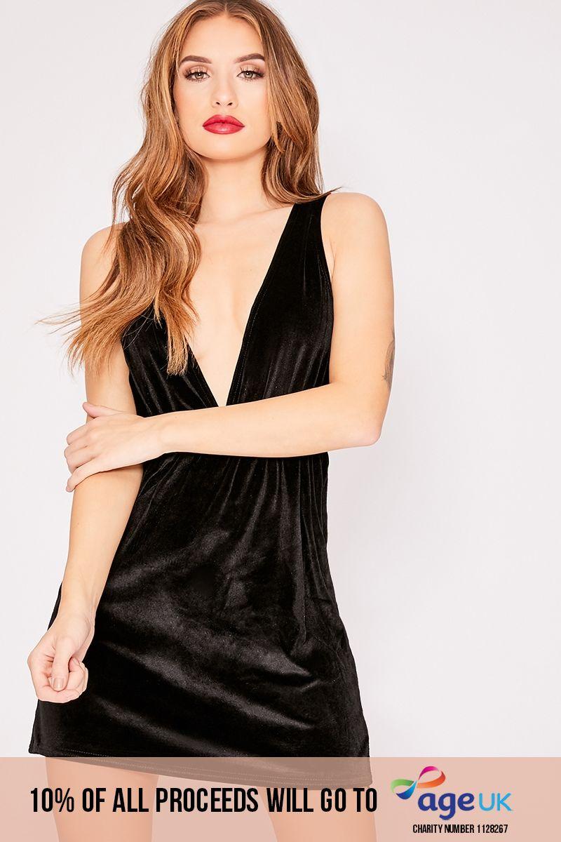 black velvet plunge mini dress